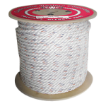 3-Strand Poly Dacron Rope 1-1/4 in. x 600 ft. White W/Blu & Orange Tracers-CWC 325140
