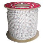 3-Strand Poly Dacron Rope 9/16 in. x 600 ft. White W/Blue & Orange Tracers-CWC 325062