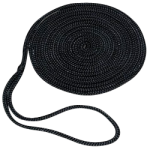 Double Braid Dock Line 1/2 in. x 25 ft. Black-CWC 350629