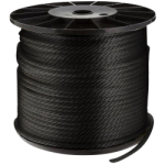 Solid Braid Nylon Rope 1/8 in. x 1000 ft. Black-CWC 105026