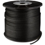 Solid Braid Nylon Rope 3/16 in. x 1000 ft. Black-CWC 105048