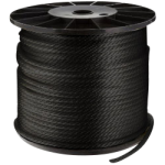 Solid Braid Nylon Rope 3/16 in. x 3000 ft. Black-CWC 105031
