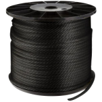 Solid Braid Nylon Rope 3/8 in. x 500 ft. Black-CWC 105118