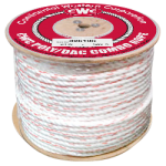 3-Strand Poly Dacron Rope 1/4 in. x 600 ft. White W/Blue & Orange Tracers-CWC 325005
