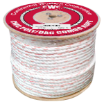3-Strand Poly Dacron Rope 5/8 in. x 600 ft. White W/Blue & Orange Tracers-CWC 325065